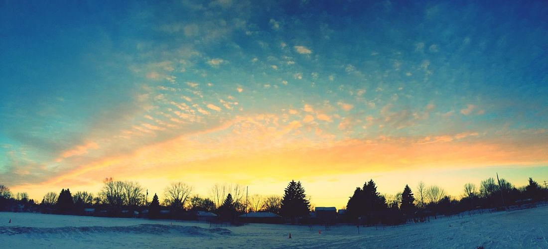 Sunset Winter Snow Covered Snow Sky Clouds Clouds And Sky Nature Cold North Trees House
