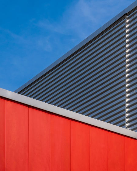 Minimal Fujix_berlin Minimalism Minimalist Photography  Ralfpollack_fotografie Pattern Blue No People Architecture Day Sunlight Wall - Building Feature Built Structure Red Building Exterior Sky Building Cloud - Sky City Corrugated Iron Modern Corrugated Iron Outdoors Low Angle View