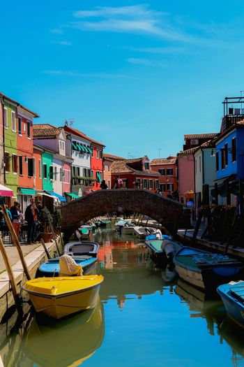 Burano Colors Boat TheWeekOnEyeEM Eyemphotography Venice, Italy Burano Water Building Exterior Architecture Built Structure Nautical Vessel Reflection City Sky Day Outdoors Waterfront Canal Residential District Building