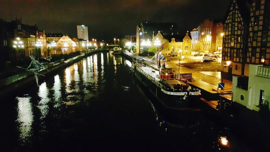 Night Illuminated Bridge - Man Made Structure Architecture Water City Outdoors Bydgoszcz, Poland  Reflection Winter No People Built Structure Building Exterior Travel Destinations Sky Cityscape Gondola - Traditional Boat First Eyeem Photo EyeEmNewHere