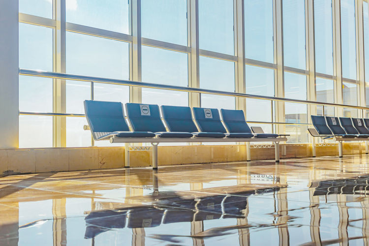 View of chairs at airport