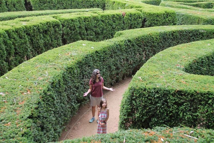 Mother Standing With Daughter Amidst Maze At Park