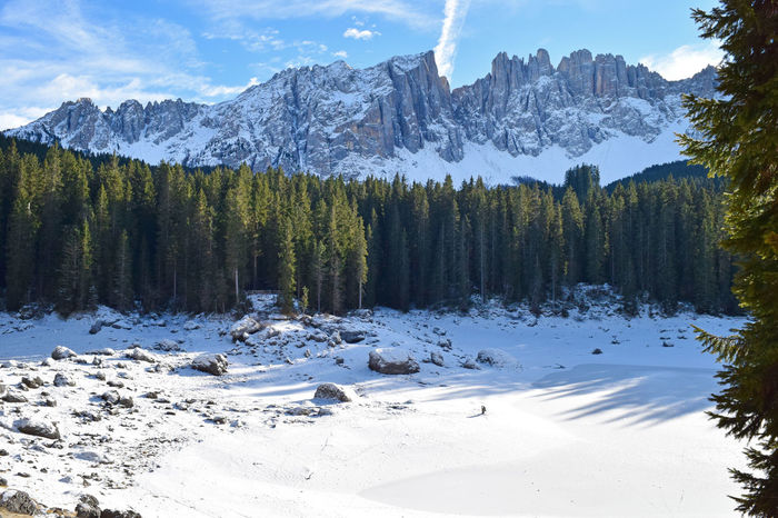 Cold Cold Temperature Dolomites Fir Tree Forest Frozen Frozen Lake Karersee Lake Carezza Landscape Latemar Majestic Mountain Mountain Range Nature Season  Snow Snow Covered Snowcapped Snowcapped Mountain South Tyrol Trentino Alto Adige Weather Winter Südtirol