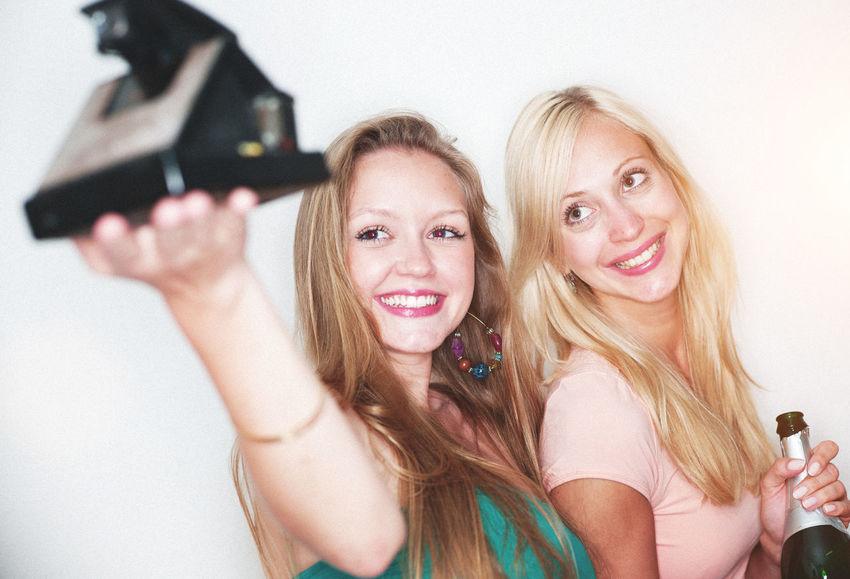 girls having fun Beautiful Casual Clothing Cute Fashion Friendship Fun Girl Girlfriends Happy Happyness Leisure Life Lifestyles Long Hair Polaroid Selfie Women Young Adult Young Women