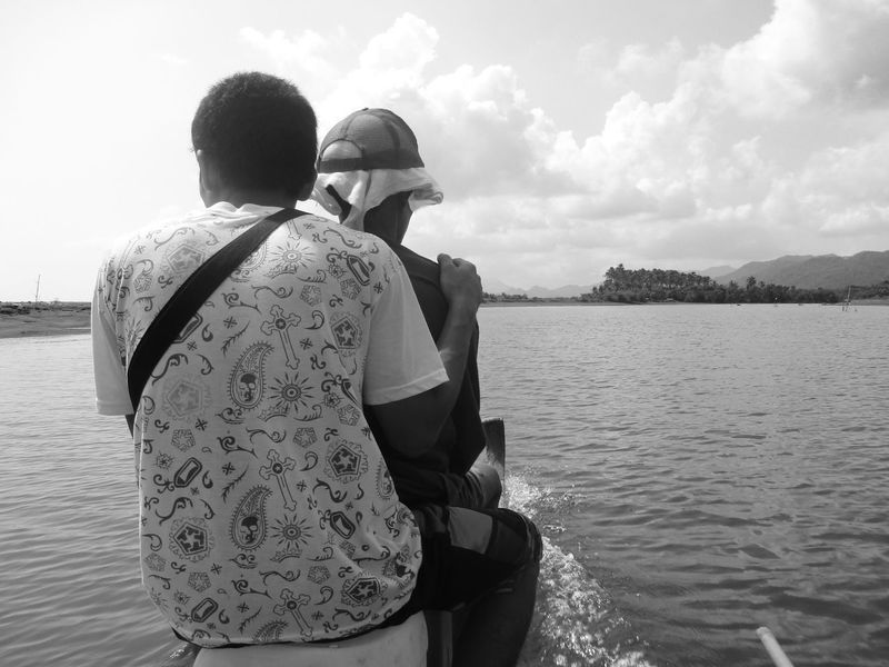 Beauty In Nature Blackandwhite Bnw Day Horizon Over Water Lake Leisure Activity Lifestyles Men Nature Nautical Vessel Outdoors Real People Rear View Scenics Sitting Sky Togetherness Two People Water