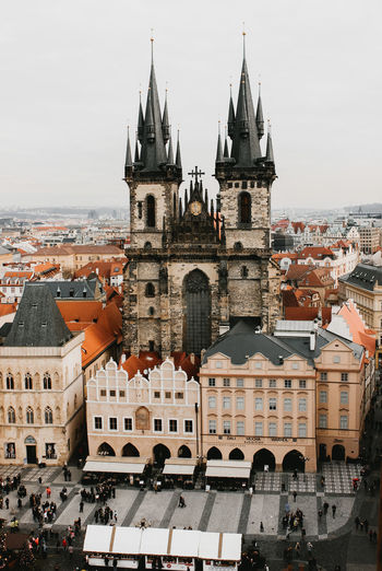 The view from atop Astronomical tower. Castle Christmas . Christmas Market Holidays Prague Architecture Building Exterior Built Structure City Cityscape Day Europe History No People Outdoors Place Of Worship Religion Sky Spirituality Travel Destinations