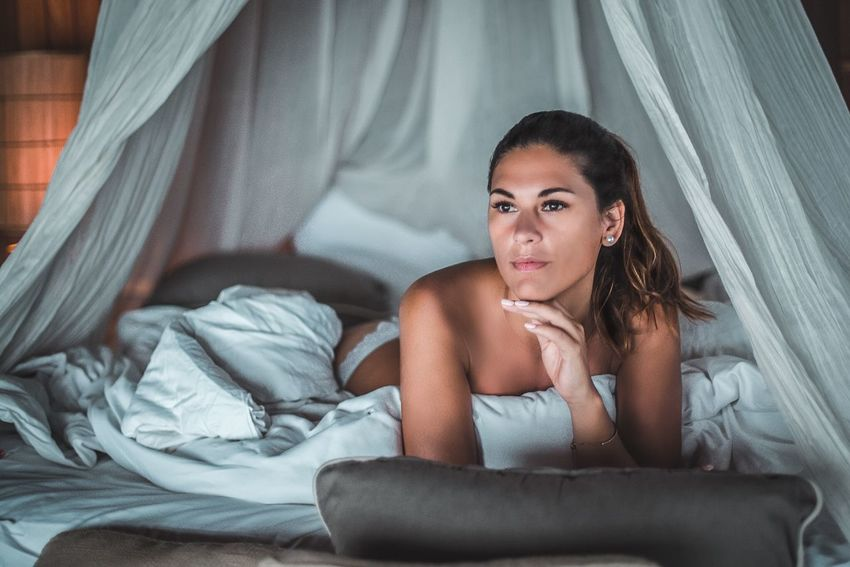 EyeEm Selects Bed Young Adult Indoors  Young Women One Person Home Interior Beautiful Woman Real People Beauty Lifestyles Bedroom Curtain Looking At Camera