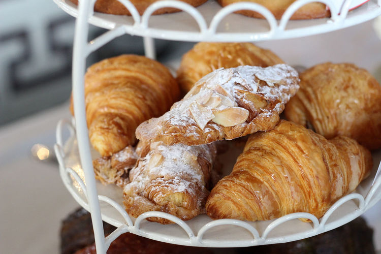 Close-Up Of Croissants On Rack