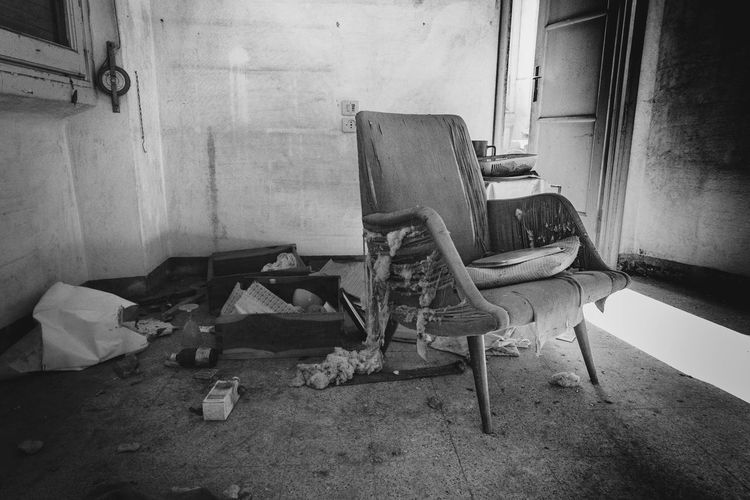 Abandoned Absence Architecture Armchair Chair Damaged Day Home Interior House Indoors  Messy No People Technology