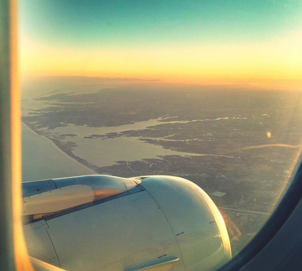 Aircraft Wing Aerial View Transportation Sunset Flying Window Seat Airplane Wing Nature Sky