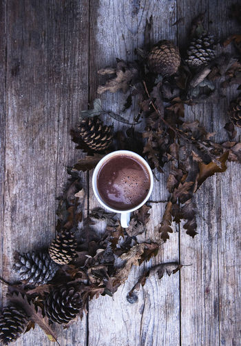 Directly Above Shot Of Hot Chocolate Cup With Pine Cones And Oak Leaves On Table