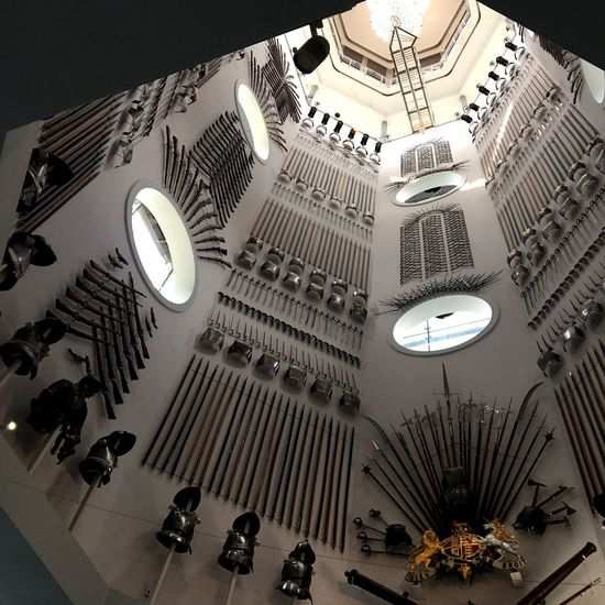 Weapons Royal Armouries Leeds Illuminated Indoors  Architecture Decoration Ceiling Built Structure Low Angle View