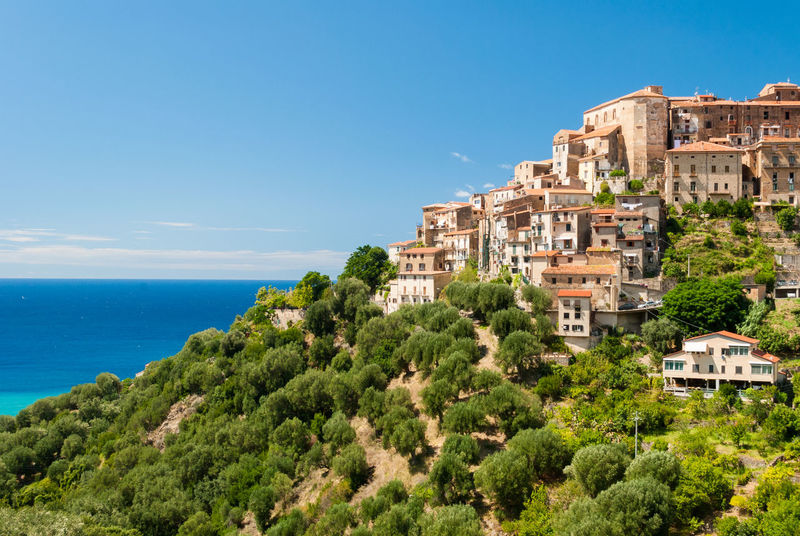 The small village Pisciotta in the national park of Cilento (southern Italy) Architecture Blue Campania Cilento Green Hill Italy Landscape Mediterranean  National Park Outdoors Pisciotta Salerno Scenics Sea Sky Skyline Summer Town Travel Urban Village