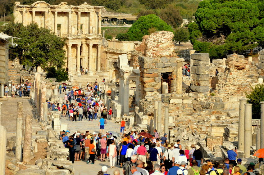 The ancient city of Ephesus in Turkey filled with tourists Ancient City Ephesus - Turkey Rock Ruins Travel Trip History Old Stone Tourism Vacation The Traveler - 2018 EyeEm Awards