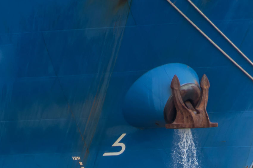 Blue Cargo Ship Day Full Length No People Outdoors Shipping Industry Ships Anchor