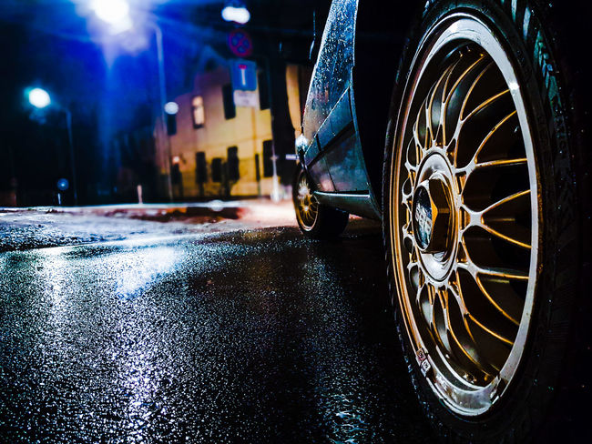 BBS BBS_Rims Car Retro Volkswagen Golf2 Night Lights Stteet Aftertherain
