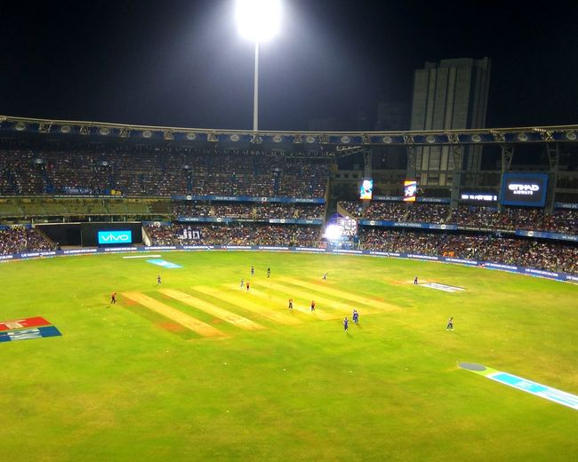 Sports Photography Cricket Match IPLFever Playing Field Team Sport Stadium Night Grass Sports Team Cricket Ground Large Group Of People Enjoying The Veiw  Outdoors Audience Cheer Up CricketLove Mumbai Indians Mumbai