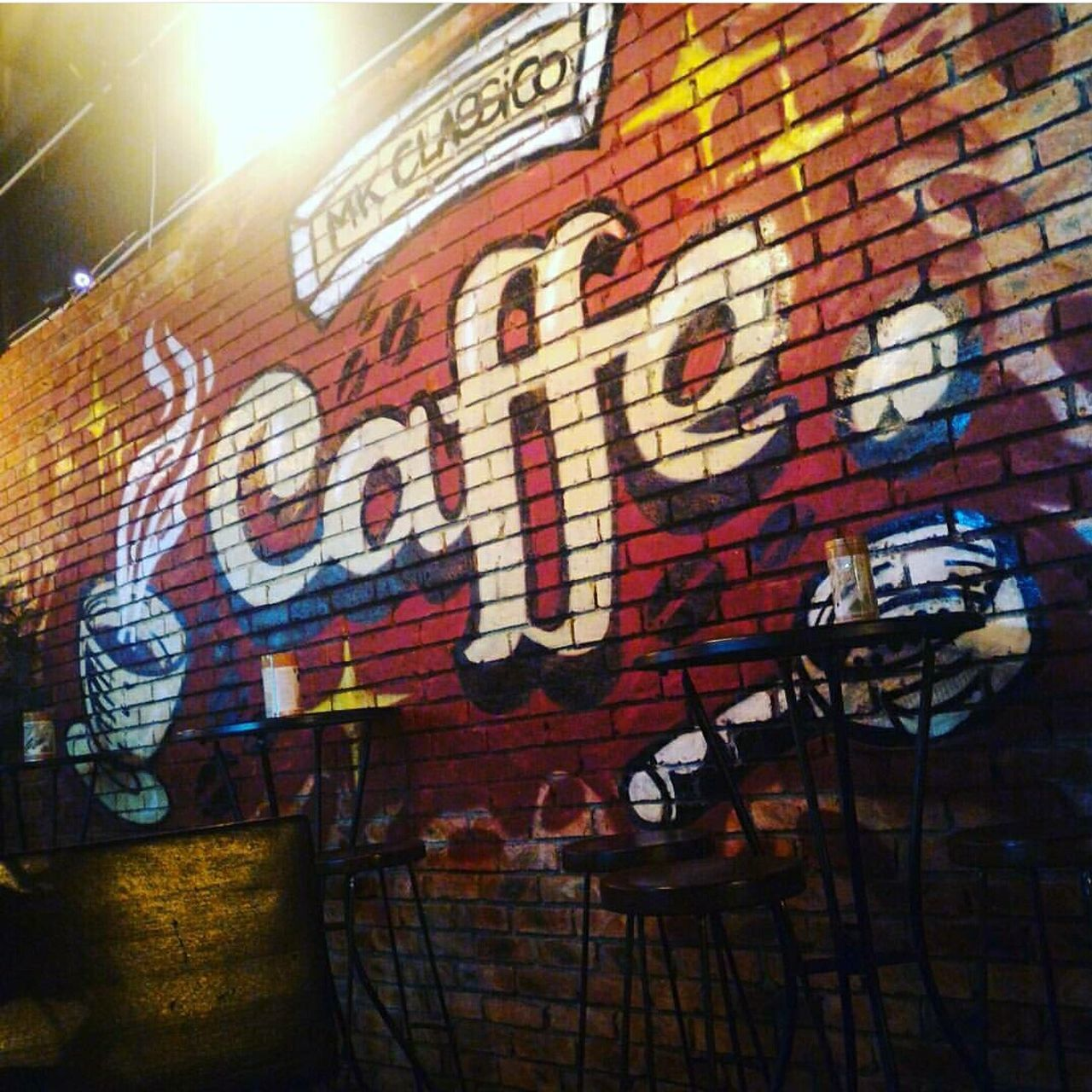 graffiti, brick wall, text, no people, day, architecture, built structure, illuminated, indoors, close-up