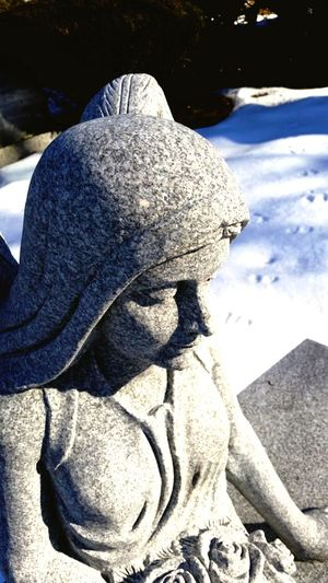 Cold Temperature Winter Close-up Snow Tranquility No People Day Angel Granite Memorial Cemetery Portland Maine Headstone. Gray Color Blue Background maine