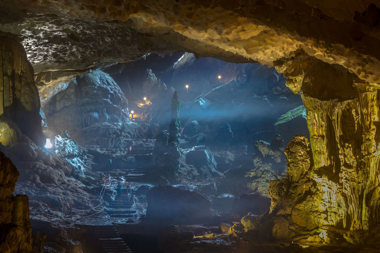 Low angle view of illuminated cave