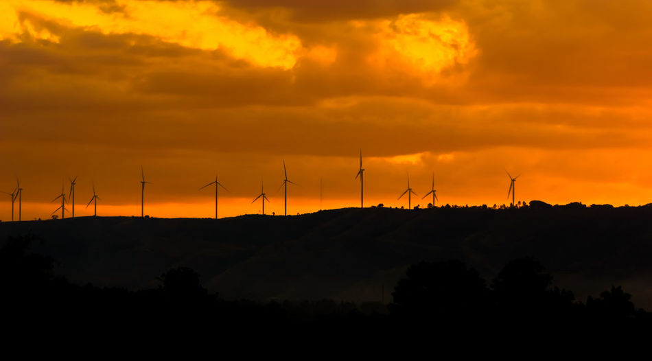 Alternative Energy Beauty In Nature Cloud - Sky Day Environmental Conservation Fuel And Power Generation Industrial Windmill Landscape Nature No People Orange Color Outdoors Renewable Energy Scenics Silhouette Sky Sunset Technology Tranquility Tree Wind Power Wind Turbine Windmill