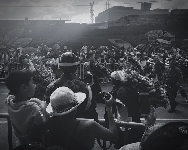 Parade Flores Festival Of Flower Medellín Blackandwhite Togetherness Crowd Fun Spectator Social Gathering My Favorite Place People And Places