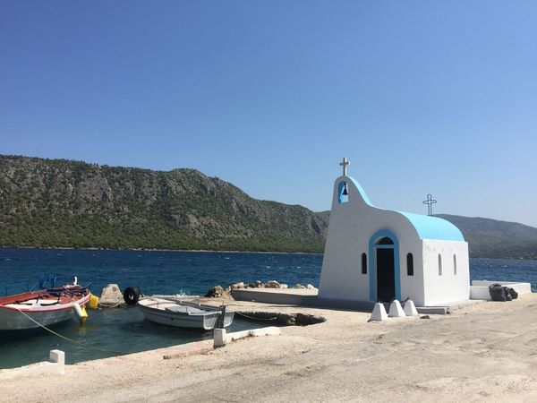A charm of Greece. (2) Greece Photos Loutraki Religion Spirituality Place Of Worship Built Structure Sea Clear Sky Water Sunlight