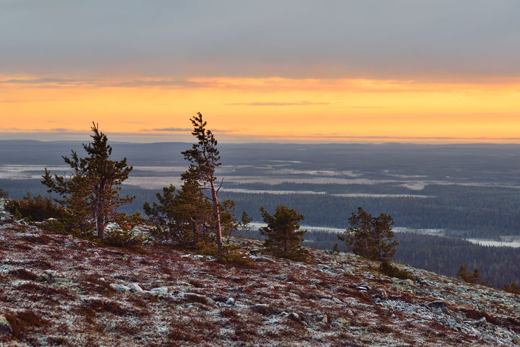 View from the top of Ukko-Luosto mountain. Beauty In Nature Calm Cloud Cloud - Sky Cloudy Idyllic Landscape Lapland Mountain Nature No People Non Urban Scene Non-urban Scene Orange Color Outdoors Remote Scenics Sky Sunset Tranquil Scene Tranquility Weather