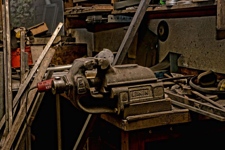 The locksmith workshop Dirty Locksmith No People Old Tools Tools Vintage Workshop