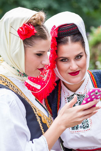 Young Women Looking At Camera Dancers Slovenia Traditional Clothing Westerlo Dancefest First Eyeem Photo