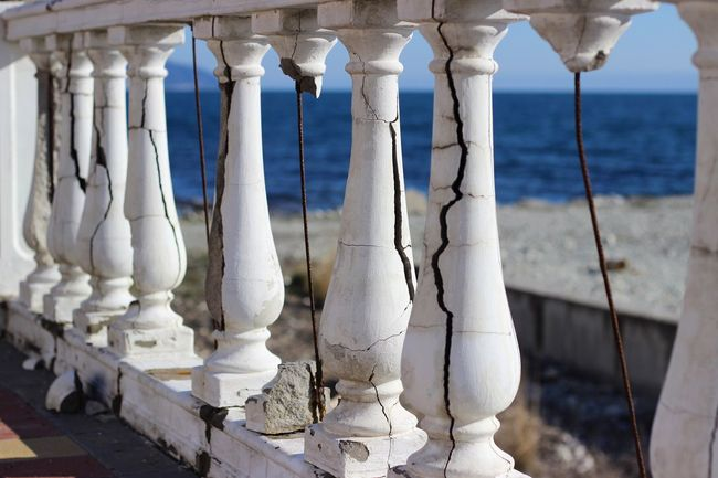 Architectural Column White Color No People Architecture Outdoors Sea Day Nature Close-up Sky Embankment Landscape Landscape_Collection Black Sea Ruins Architecture White White And Blue
