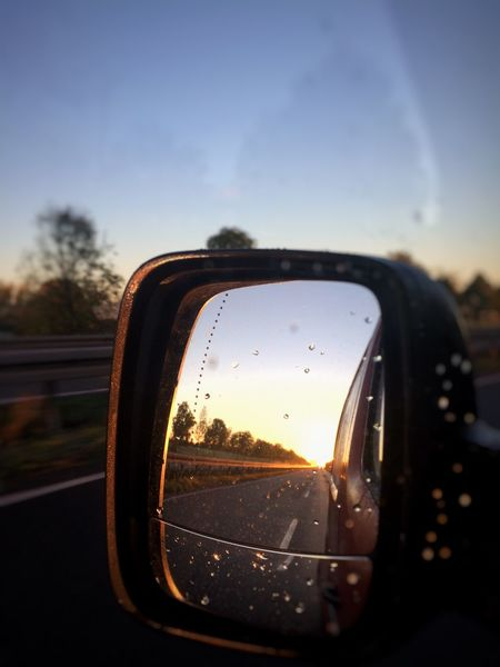Morning Sungoesup Car Vehicle Mirror Road Outdoors No People Sunset Starting The Day Starting Work Focus Beutiful  Landstrasse