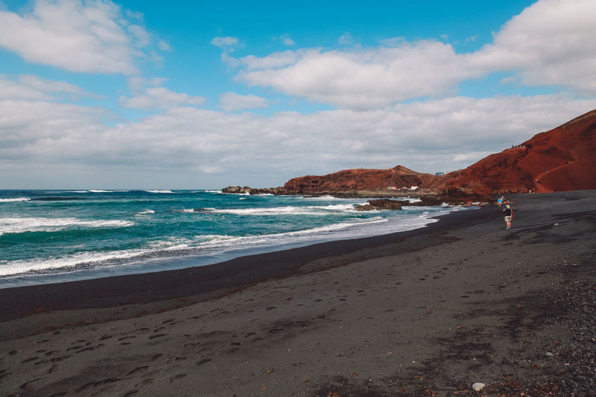 Canary Islands Lanzarote SPAIN Travel Volcanoes Beach Black Day Geological Formation Island Landscape Ocean Sea Volcanic  Volcano Waves