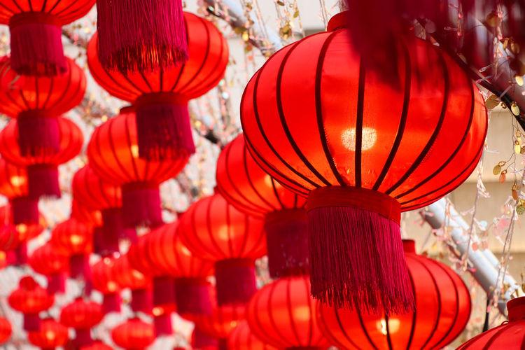 Full frame shot of lanterns for sale at market