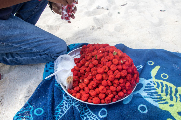 Low section of person with strawberries in plate