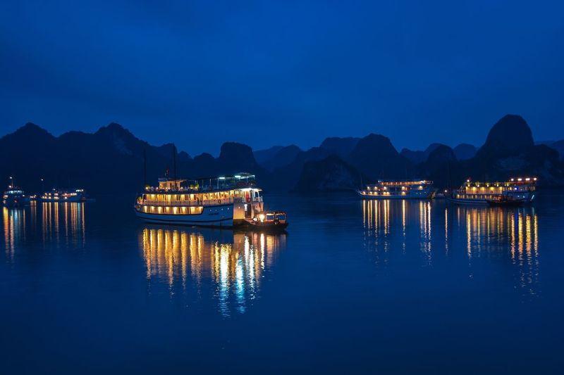 Vietnam Halongbay Halong Bay Vietnam Boats Night Reflection Nautical Vessel Water Mountain Blue Tranquility Travel Photography Travel Boat Trip