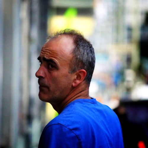 Don't look back. City Life Street Photography Streetphotography Receding Hairline Balding Strangers Stranger EyeEmNewHere Looking Back Look Back Turn Around Turning Around Blue Shirt Man Focus On Foreground One Person Real People Side View Day One Man Only Adult