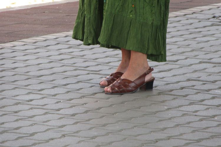Shoes Green Skirt Brickstreet Low Section Women Human Leg Walking Men Human Foot