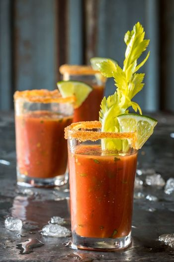 Bloody Mary shooter Adult Alcohol Shot Shooter Beverage Food And Drink Vodka Drink Tomato Juice Bloody Mary