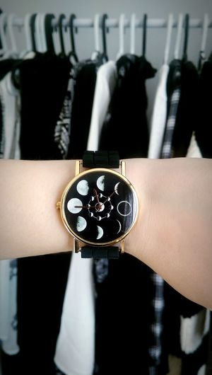 Close-up Focus On Foreground Watch Phases Of The Moon Greyscale Jewelry Wrist Wristwatch Touch Of Gold