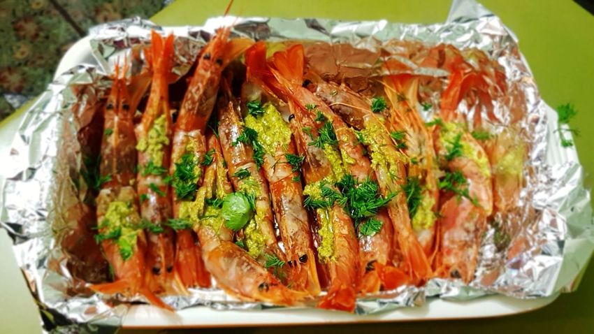 Food - Langoustins with Pesto sauce Langoustine Langoustines Pesto Oven Tasty😋 Foil  Shrimps Tastyfood Food Stories Food And Drink Food Freshness Close-up High Angle View No People Ready-to-eat