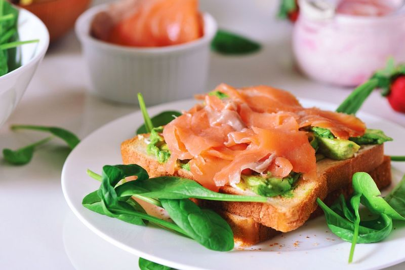My Favorite Breakfast Moment Toasts Avocado Breakfast Salmonsandwich Salmon Toast Healthy Eating Live To Eat Food Hungry Spinach Avocados