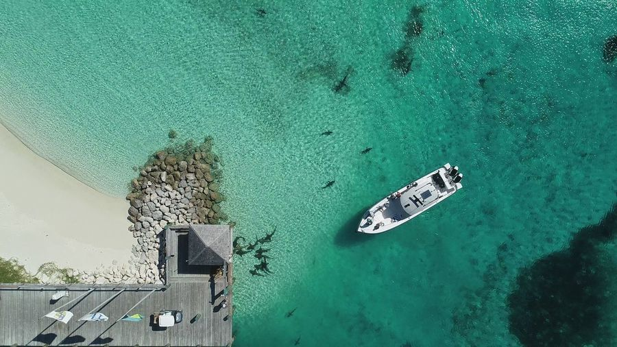 Aerial view of yacht moored at sea