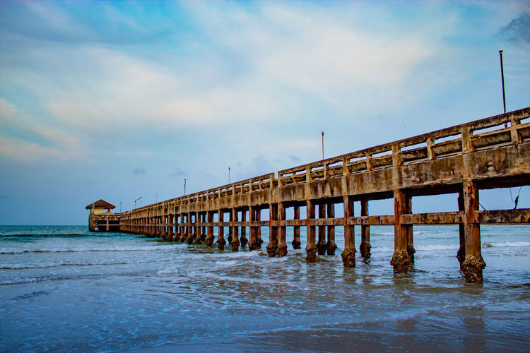 The evening light pier Chumphon. Abandoned Architectural Column Architecture Beach Beauty In Nature Built Structure Cloud - Sky Day Horizon Over Water Land Nature No People Outdoors Pier Scenics - Nature Sea Sky Tranquil Scene Tranquility Water Waterfront