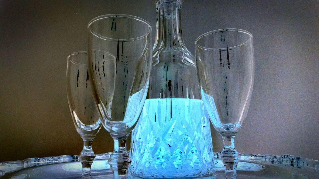 Luminescence Crystal Glass Stunning Beauty Redefined Beauty In Ordinary Things Blue Liqueur Decanter And Glassware Close-up