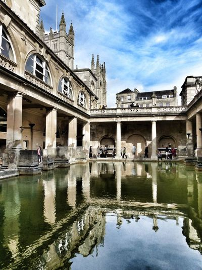 Reflecting on the Roman Baths Roman Ruins Roman Architecture Architecture Water Reflection Famous Place Bath Hot Springs Spa History Travel Destinations Travel Photography United Kingdom Bath England Sky And Clouds Tourism Water Reflection Roman Engineering