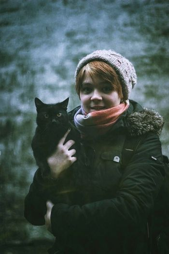 Black Cat for luck. Portrait Trip Trip Photo Winter Ukraine Traveling