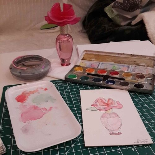 Drawing when I couldn't go outside because I'm sick. Watercolor Drawing Cardboard Ohlola markjacobsperfumehome