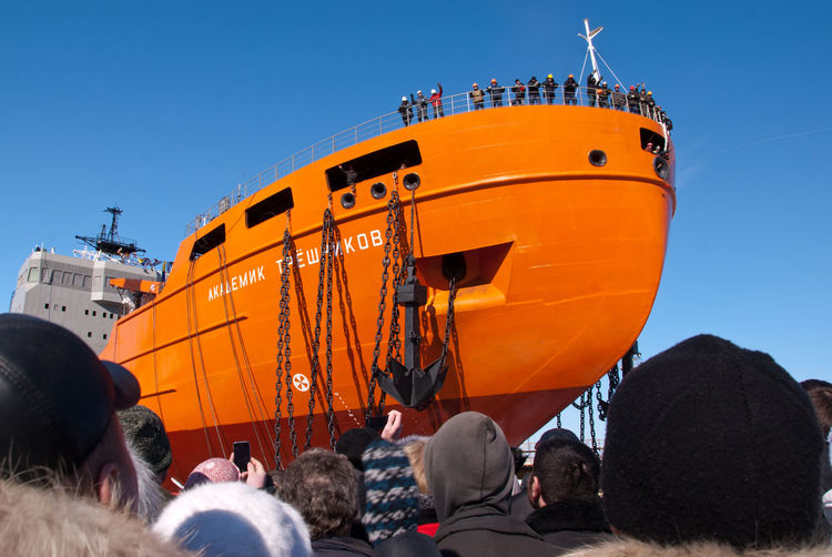 "The launch of the research vessel ""Akademik Tryoshnikov"" at the St.Petersburg Admiralty Shipyard, March 29, 2011 Adult Anchor Blue Day Deck Hugging A Tree Human Body Part Launch Of The Vessel Nautical Vessel Nautical Vessels Outdoors People Research Vessel Shipyard Shipyard Crane Shipyardlife Sky Snow Sunny Vessel Winter"