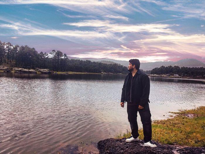 Atardecer en Arareko Atardecer Sunset Lake Lago Arareko One Person Water Standing Sky Full Length Real People Cloud - Sky